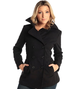 Double Breasted Wool Peacoat Jacket