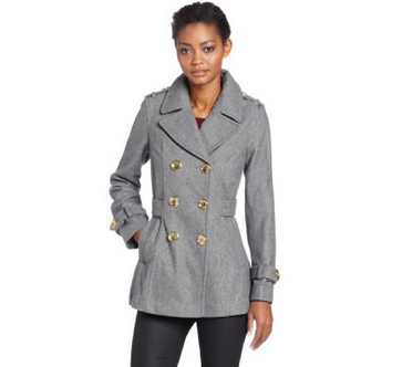 Miss Sixty Womens DB Pea Coat With Pleated Back Detail